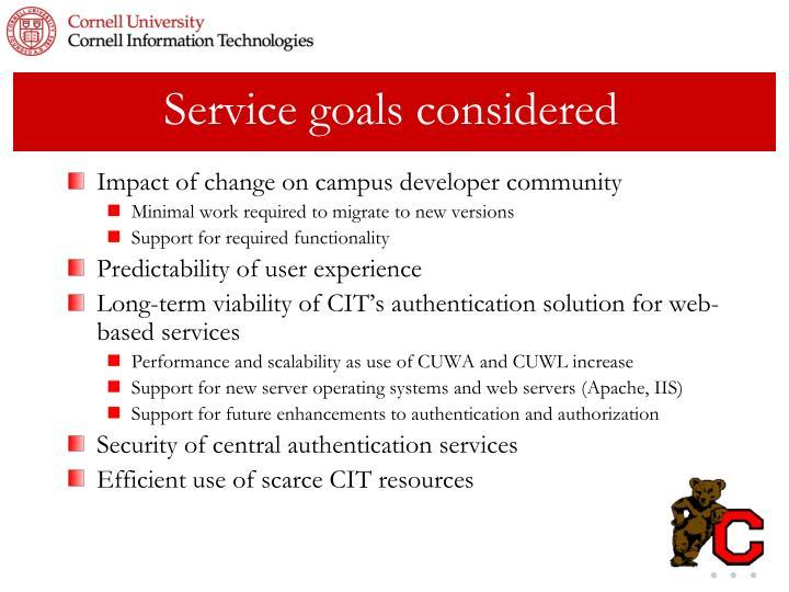 Service goals considered