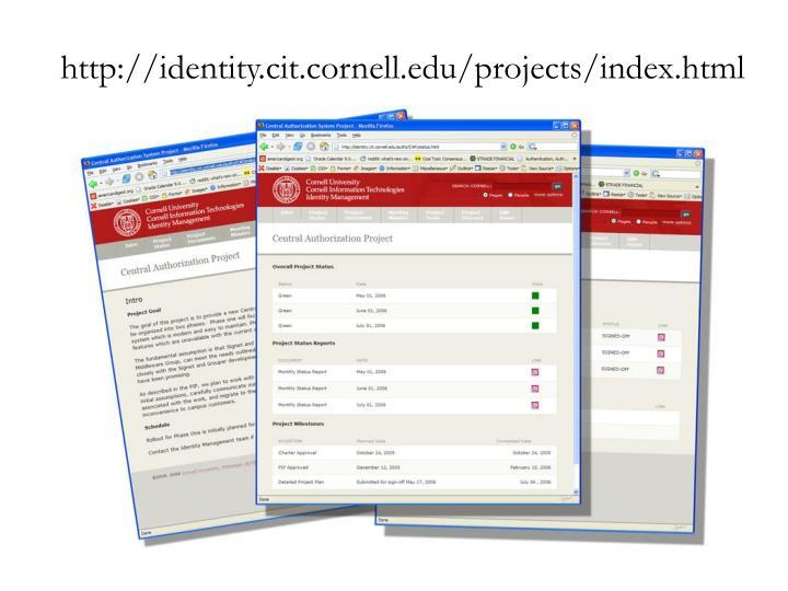 http://identity.cit.cornell.edu/projects/index.html