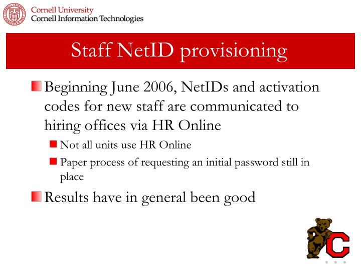 Staff NetID provisioning