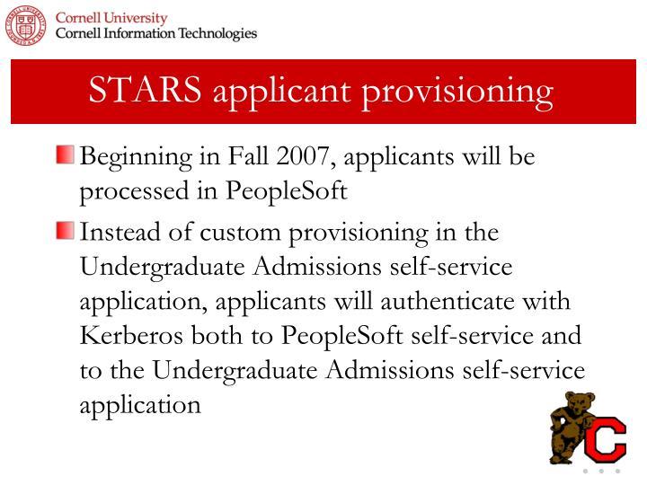 STARS applicant provisioning