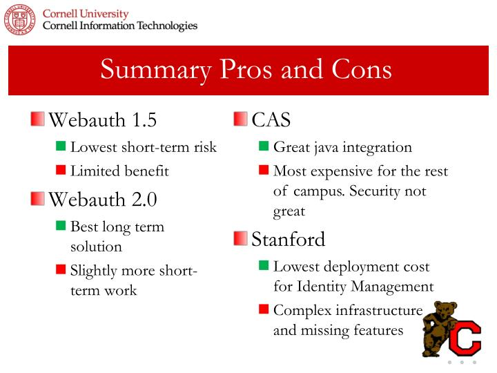 Summary Pros and Cons