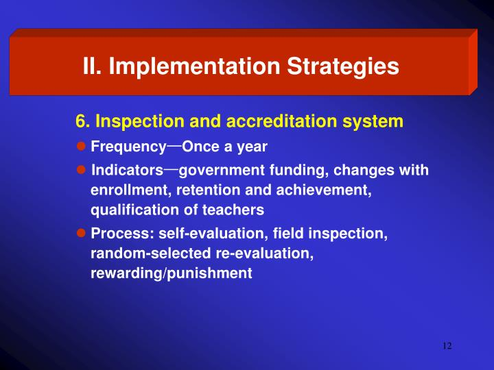 II. Implementation