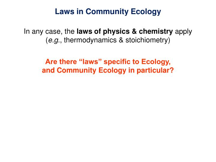 Laws in Community Ecology