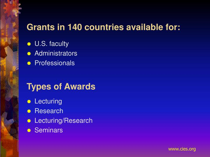 Grants in 140 countries available for