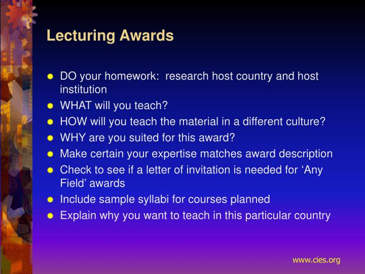 Lecturing Awards