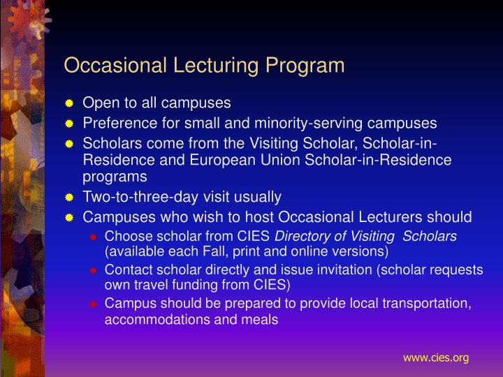 Occasional Lecturing Program