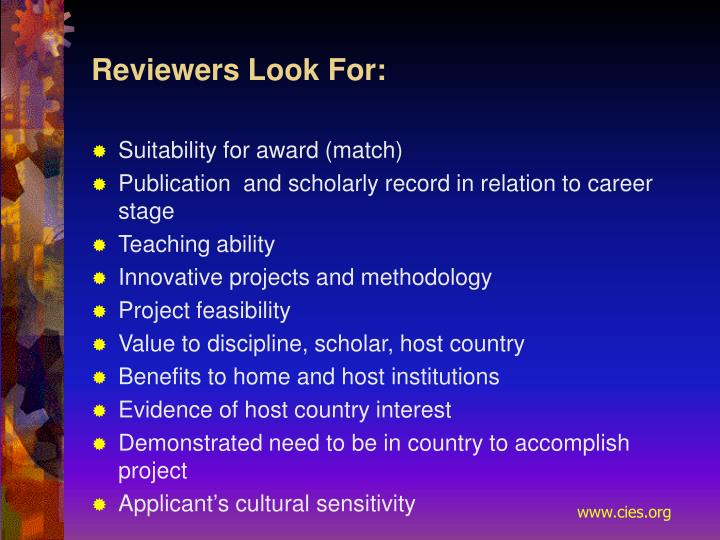 Reviewers Look For: