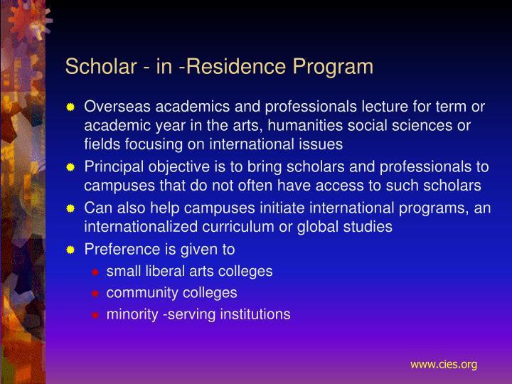 Scholar - in ‑Residence Program