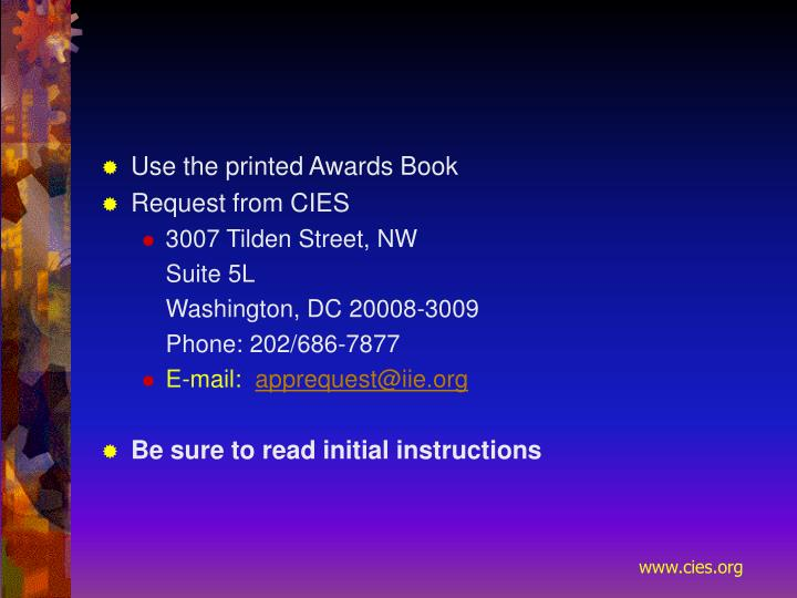 Use the printed Awards Book