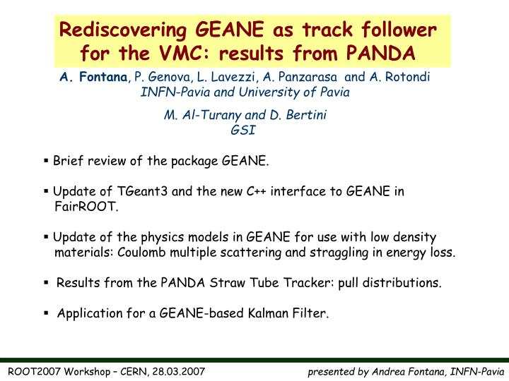 Rediscovering GEANE as track follower