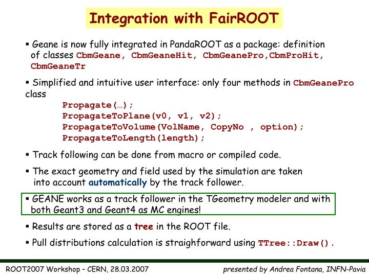 Integration with FairROOT