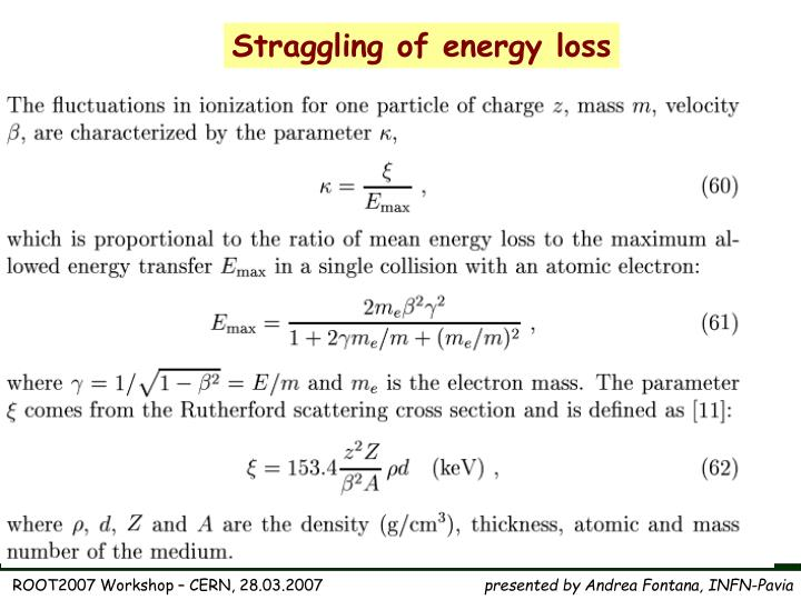 Straggling of energy loss