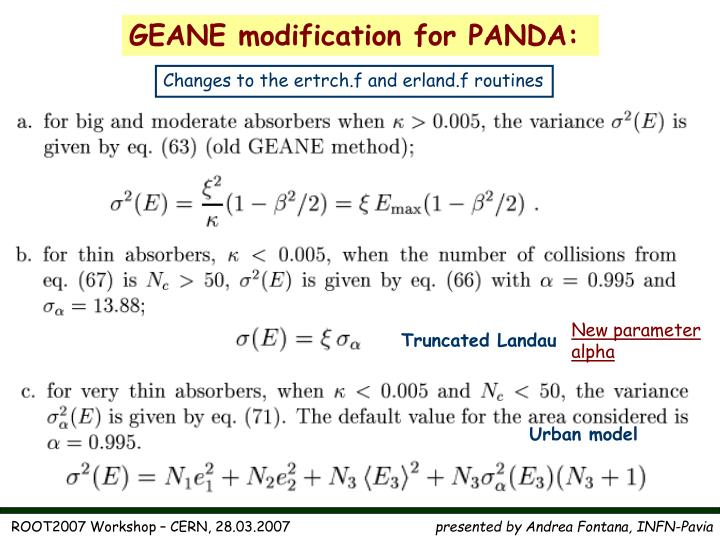 GEANE modification for PANDA: