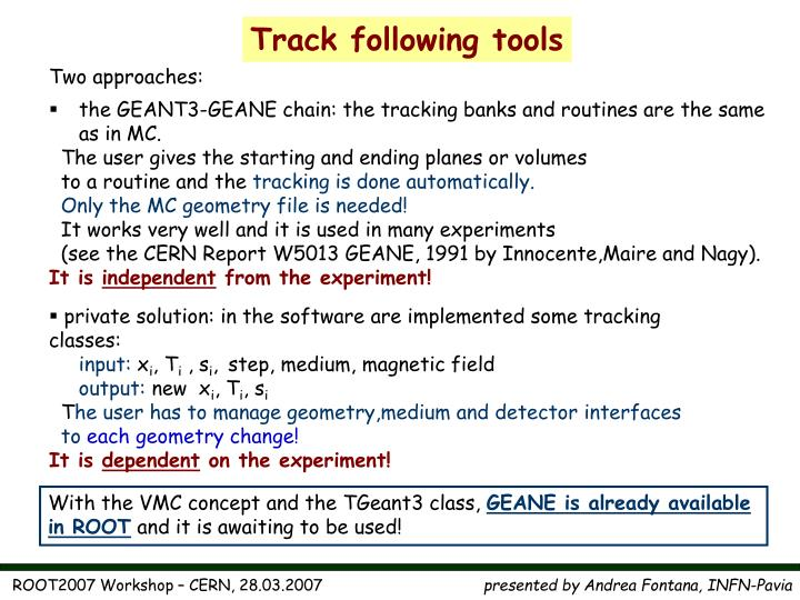 Track following tools