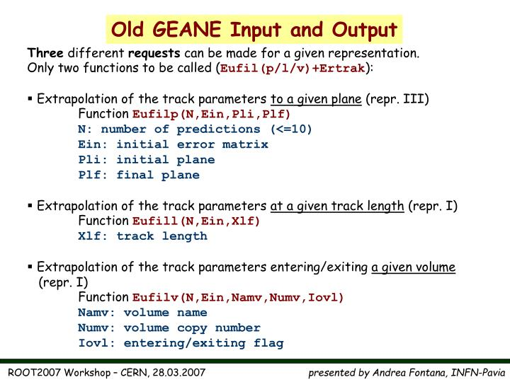 Old GEANE Input and Output