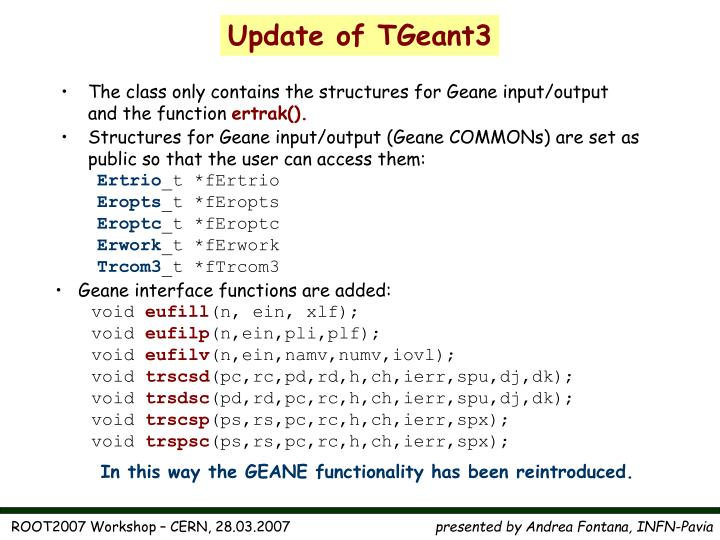 Update of TGeant3