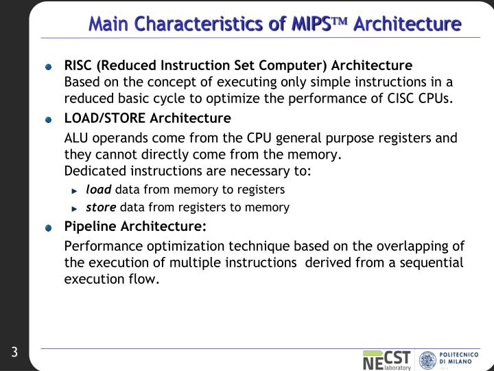Main Characteristics of MIPS