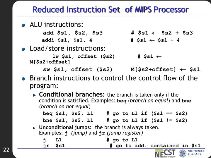 Reduced Instruction Set  of MIPS