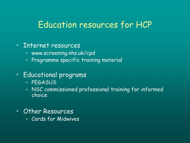 Education resources for HCP