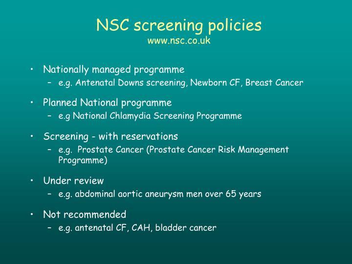 NSC screening policies