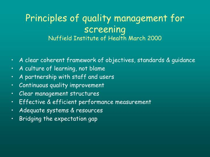 Principles of quality management for screening