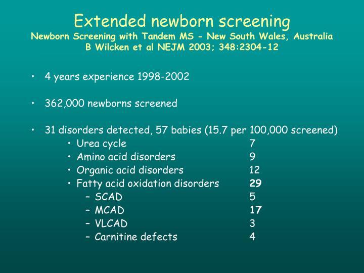 Extended newborn screening
