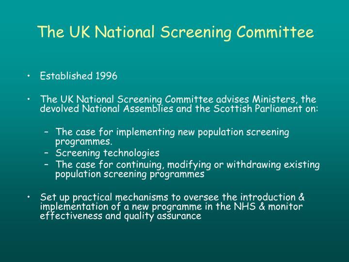 The UK National Screening Committee