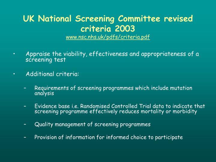UK National Screening Committee revised criteria 2003
