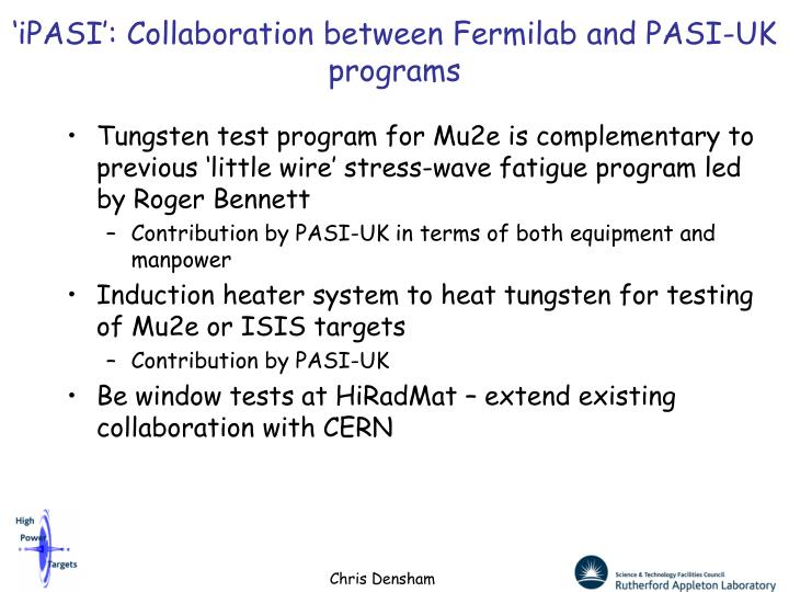 'iPASI': Collaboration between Fermilab and PASI-UK programs
