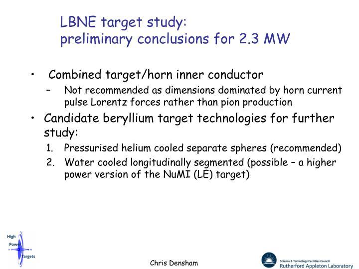 LBNE target study: