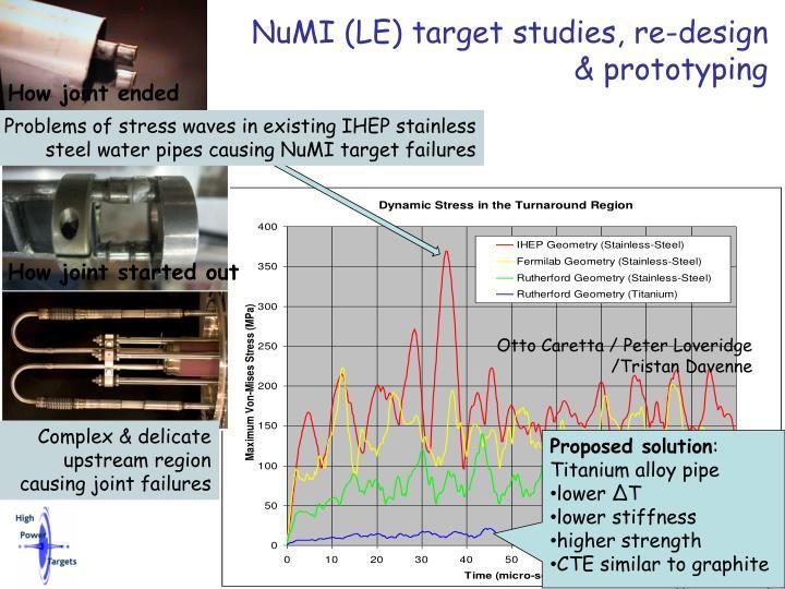NuMI (LE) target studies, re-design & prototyping
