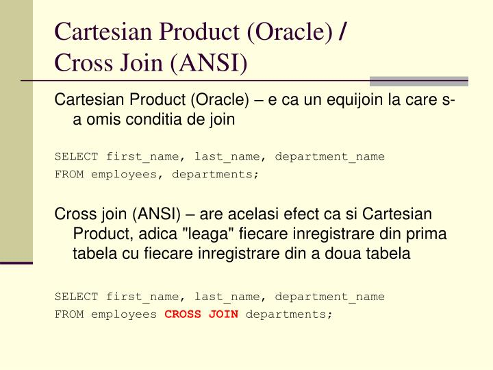 Cartesian Product (Oracle)