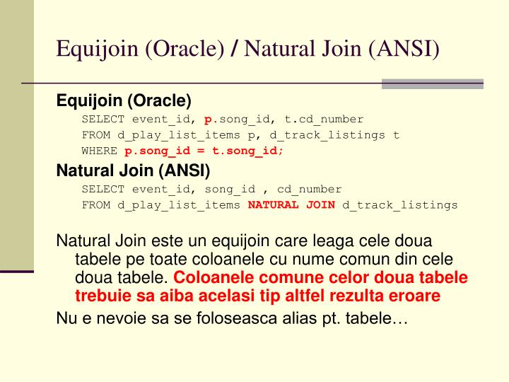 Equijoin oracle natural join ansi