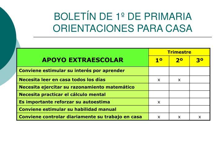BOLETÍN DE 1º DE PRIMARIA ORIENTACIONES PARA CASA