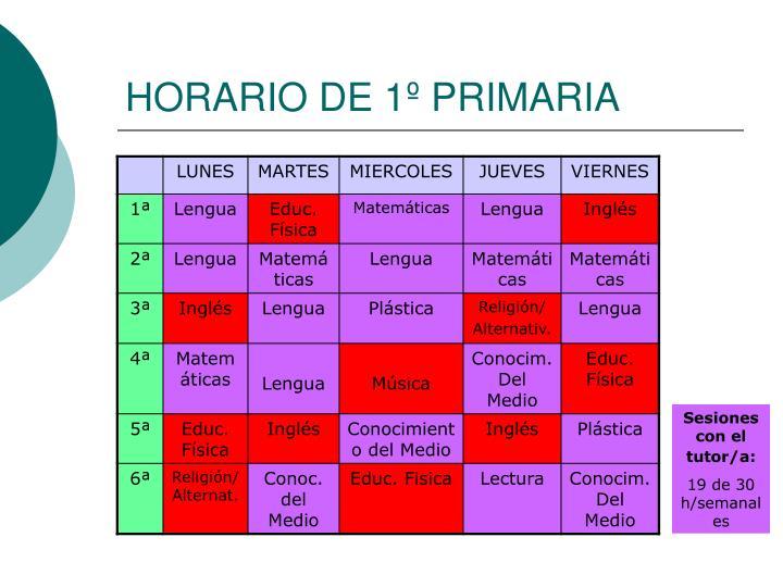 HORARIO DE 1º PRIMARIA