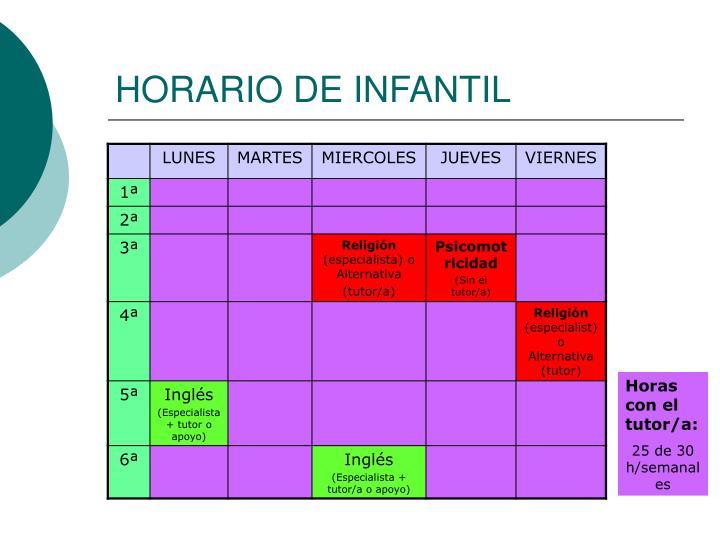 HORARIO DE INFANTIL
