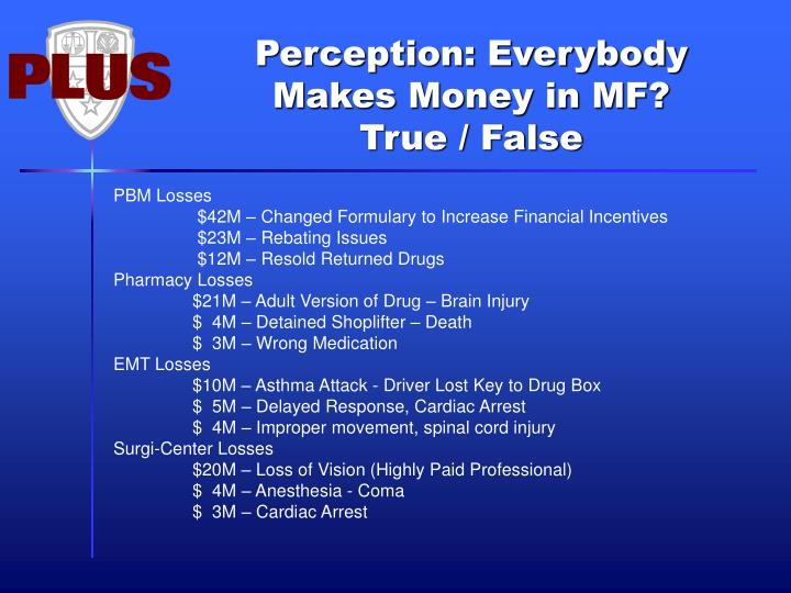 Perception: Everybody Makes Money in MF?