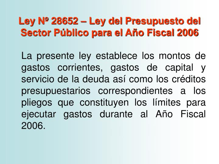 Ley Nº 28652 – Ley del Presupuesto del Sector Público para el Año Fiscal 2006