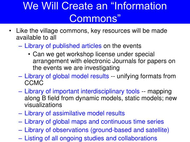 "We Will Create an ""Information Commons"""