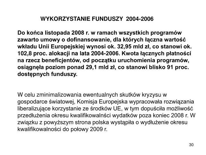 WYKORZYSTANIE FUNDUSZY  2004-2006