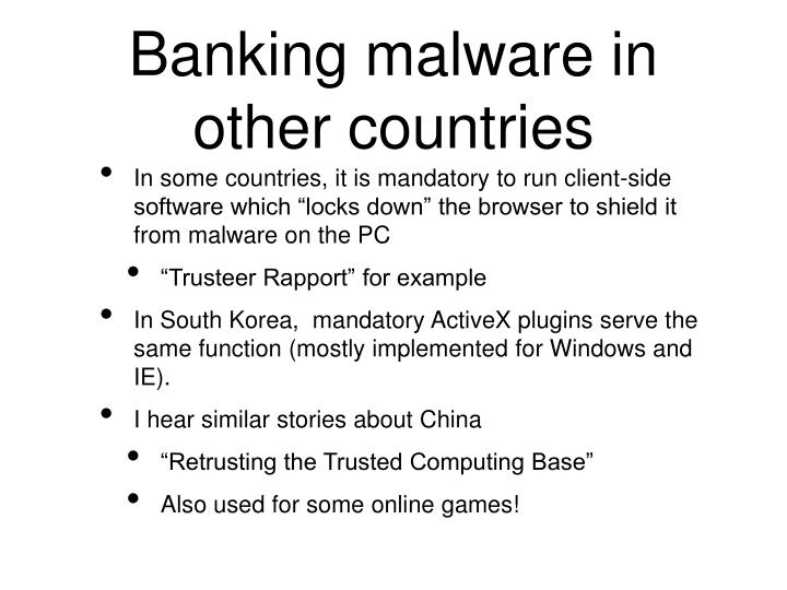 Banking malware in other countries