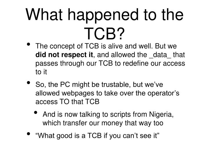 What happened to the TCB?
