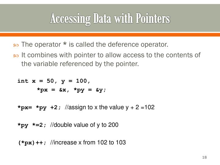 Accessing Data with Pointers