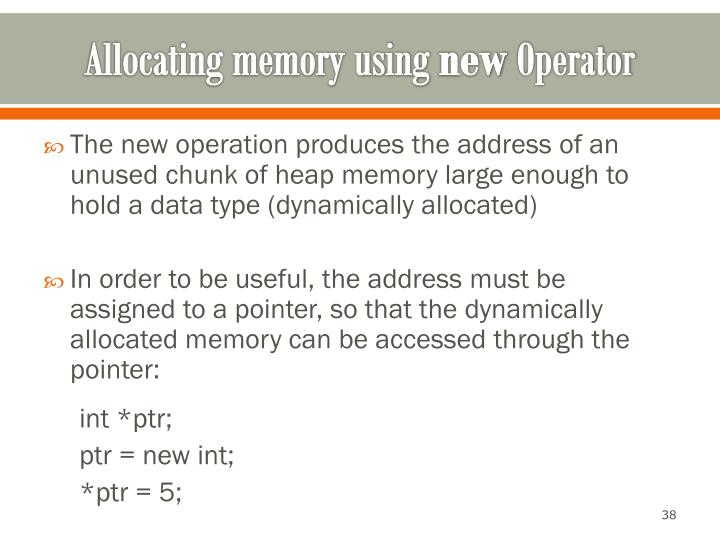 Allocating memory using