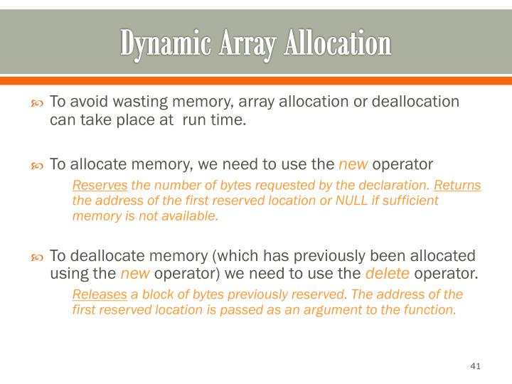 Dynamic Array Allocation