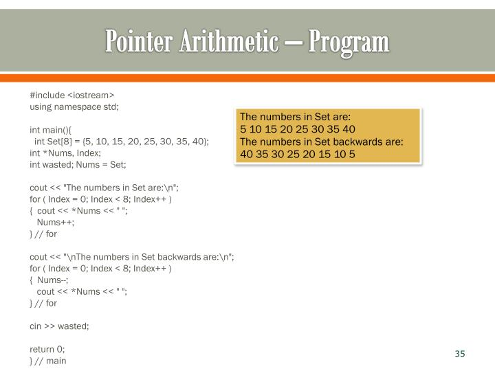 Pointer Arithmetic – Program