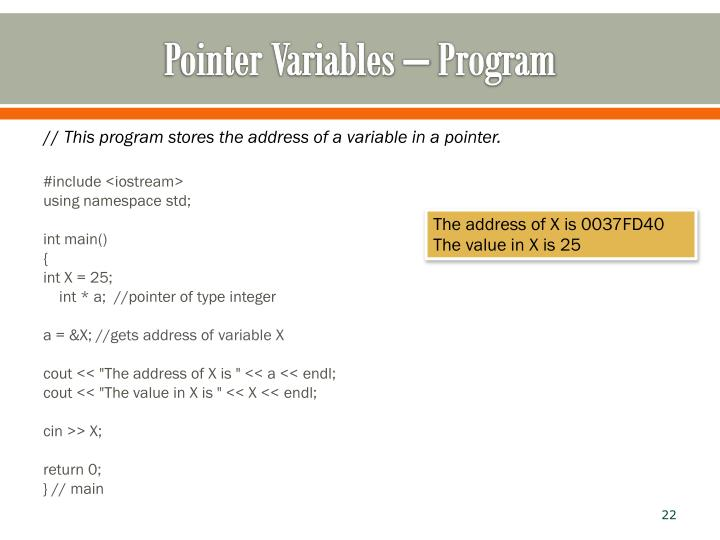 Pointer Variables – Program