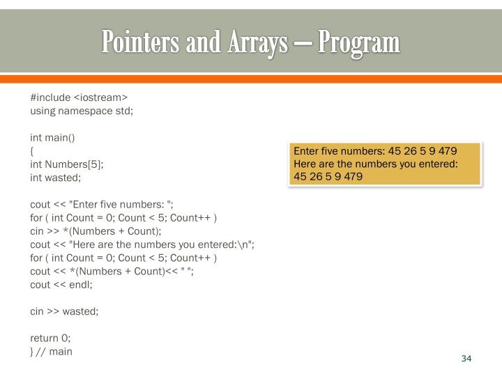 Pointers and Arrays – Program