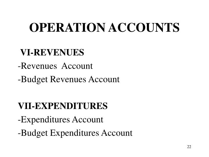 OPERATION ACCOUNTS