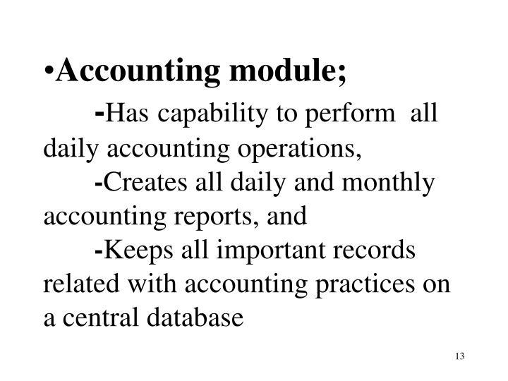 Accounting module;